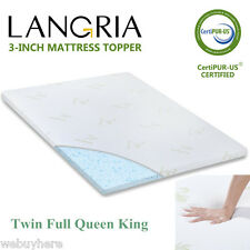"3"" Memory Foam Mattress Pad Bed Topper Hypoallergenic Cover TWIN FULL QUEEN KING"