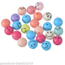 GB Wholesale  Mixed Round Acrylic Smiling Emotion Beads Jewelry Findings 11mm