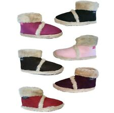 NEW WOMENS LADIES GIRLS COOLERS FUR LINED WARM COSY SLIPPERS ANKLE BOOTIES UK3-8