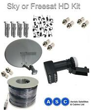 Sky Dish, Octo LNB,100m of Digital Cable, Clips & Plugs