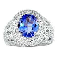 14K WHITE GOLD BOLD 4 CT TANZANITE AND DIAMOND RING CRAFTED BY MASTER JEWELERS