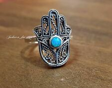 Filigree HAMSA Ring Blue Fire Opal Evil Eye Sterling Silver Jewelry From Israel