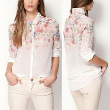 New Women Shirts Chiffon Flower Floral Print Blouses Tops Ladies Tops