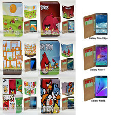 For Samsung Galaxy Note 7 5 4 Note Edge - Angry Birds Print Wallet Phone Case