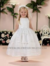 BRAND NEW Joan Calabrese Flower Girl Style 114328-  White Dress Sz 10