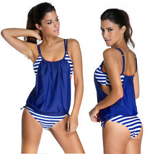 Womens Stripes Lined Up Double Up Tankini Top Swimwear Sexy Beach Swimsuit Set