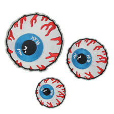 Goth Punk Rock Blooding Eyeball Embroidered Iron On Applique Motif Patch EF