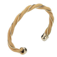 18K YELLOW /ROSE GOLD PLATED SOLID TWIST CUFF BANGLE LADY WOMENS BRACELET