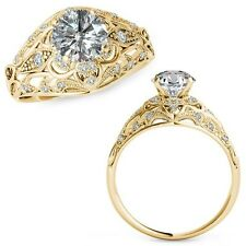 1 Carat G-H Diamond Fancy Designer Halo Wedding Women Ring 14K Yellow Gold