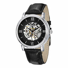 Stuhrling Delphi 458G2 Mens Mechanical Skeleton Watch w/ Extra Leather Strap