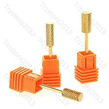 """Manicure 3/32"""" Gold Carbide Electric Nail File Drill Bits Cylinder Drill Grit"""