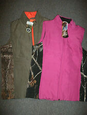 Realtree CAMO Vest Womens Size: *L* Green/Orange *M* Pink/Black Zip Up Pockets