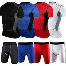 Mens Body Armour Compression Base Layer Top T-Shirt Shorts Pants Under Skin Gear