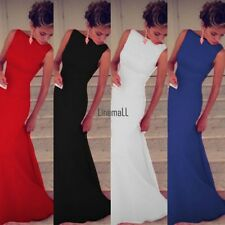 Fashion New Full-Length Women Sleeveless O-Neck Solid Sexy Maxi Party Dress LM