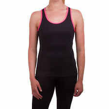 Higher State Womens Pink Black Running Sports Gym Vest Tank Top Singlet