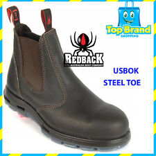 Redback Work Boots USBOK Claret Steel Toe Safety Elastic Side SIZE 9.5 UK BROWN