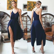 Sexy Women Spaghetti Strap V-Neck Slit Wide Leg Casual Calf Jumpsuit