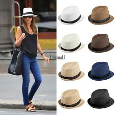 Men Women Fedora Wide Brim Straw Trilby Cap Unisex Panama Summer Beach Sun Hat L