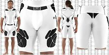 Under Armour MENS Gameday 5-Pad Football Girdle W/ Cup Pocket White, 1236239 NEW