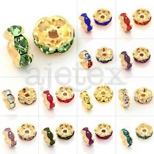 100pcs DIY Crystal Beads Round Spacer Gold Plated Wavy Jewelry 5/6/8/10/12mm