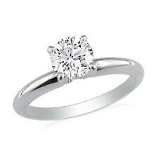 14K WHITE GOLD 1/2CT ROUND DIAMOND SOLITAIRE ENGAGEMENT RING
