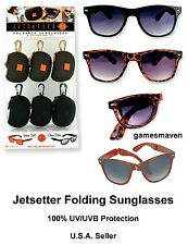 JetSetter Foldable Sunglasses with Case ~ 100% UVA/UVB Protection ~ Travel NEW