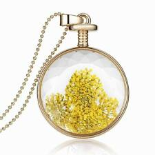 1PCS Natural Dried Flowers 33mm Round Glass Current Bottle Pendant Bead Necklace