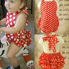 Girls Baby Polka Dot Ruffle Romper Jumpsuit Bodysuit Headband Outfits 0-24M