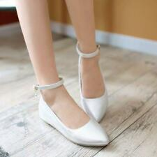 Sweet Womens Girls Low Flat Ballet Pointy Toe Shoes Casual Ankle Strap Shoes Sz