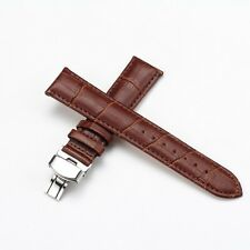 Durable Black Genuine Leather Watch Strap Stainless Steel Butterfly Buckle US