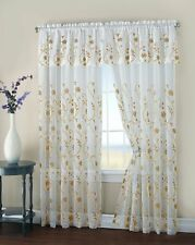 """Malta Two Floral Embroidery Matte Sheer Window Curtain w  Valance -108"""" 84"""""""
