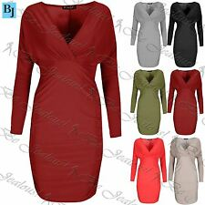 Womens Wrap Cross Mini Dress Ladies Side Ruched Long Sleeve Bodycon Plus Size