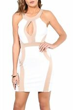 Womens Cut Out Open Zip Up Back Bodycon Mini Dress Contrast Panel Size UK 8-14