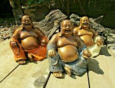 Fair Trade Hand Made Carved Resin Chinese Laughing Buddha Statue Ornament 14cm
