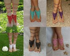 Crochot Colorful Bridal Barefoot Lace shoes Beach Wedding Sandals Foot Jewerly