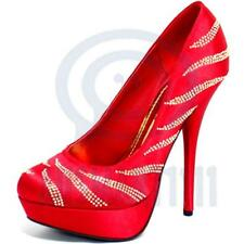 Red Satin Gold Studded Womens Shoes Pump Platform Formal Party Sexy High Heels