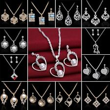 18K Sapphire Pearl Crystal Necklace Earrings Set Wedding Engagement Jewellery