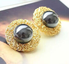 Fashion Lovely Pair Gold Plated Nest Faux Pearl Earring Ear Stud Jewellery