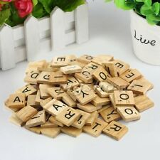 Hot 100 Wooden Alphabet Scrabble Tiles Black Letters & Numbers Crafts Wood FS