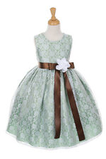 NWT Flower Girl Dress Lace Sage Green Easter Christmas Pageant Wedding Holiday