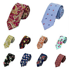 Mens Slim Skinny Party Groom Wedding Print Floral Cotton Tie Necktie