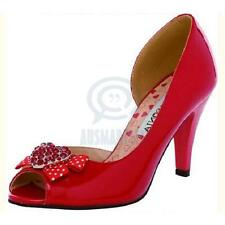 Womens Sexy Ribbon Bow Shoes Open Toe Red Rhinestone Pump Party High Heels