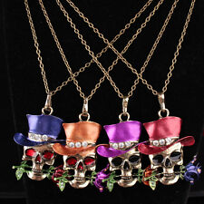 Charm Women's Infinity Tibet Silver Skull Flower Pendant Chain Necklace Jewelry