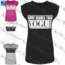 Womens Ladies Celeb More Issues Than Vogue Printed Cap Sleeves Tee T Shirt Tops