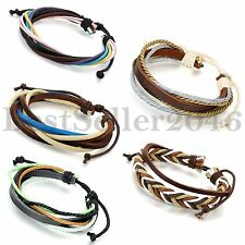 Hand-made Mens Women Multi-color Braided Leather Cuff Wristband Bracelet