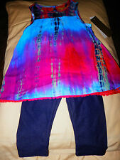 NWT-Nicole Miller 2 Piece Multi-Color Outfit/Matching Jean Tights-MUST SEE-0626