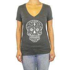 Shirt V Neck Candy Skull T Ladies Cool Day of Dead Gift Tee New S Shirt
