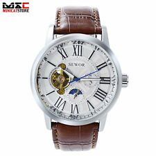 Moon Phase Mens Automatic Mechanical Wrist Watch Tourbillon Silver Steel Date UK