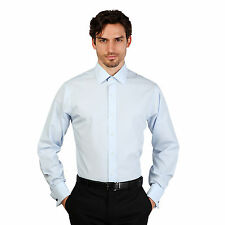 Brooks Brothers Mens Azzurro Long Sleeve Plain Slim Fit Formal Shirt