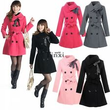 Women Double-breasted Winter Wool Trench Coat Long Jacket Outwear Overcoat TXWD